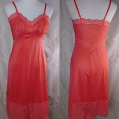Flawless Vintage 1950s Vanity Fair Deep Coral Salmon Pink Tricot Nylon & Lace Full Slip Lingerie Nightwear Negligee Nighty 34 S Mad Men by CompulsiveNeurons on Etsy https://www.etsy.com/listing/477735254/flawless-vintage-1950s-vanity-fair-deep