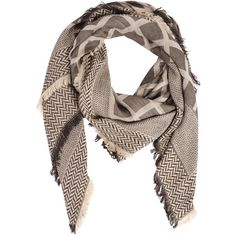 Look By M Mix Pattern Square Wool Scarf ($35) ❤ liked on Polyvore featuring accessories, scarves, khaki, patterned scarves, print scarves, woolen shawl, wool scarves and square scarves