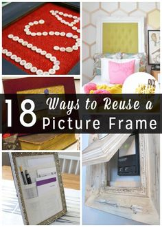 LOTS of people upcycle empty picture frames, and there are a lot of awesome project tutes to turn that empty picture frame into just about anything else that you could ever want or need.