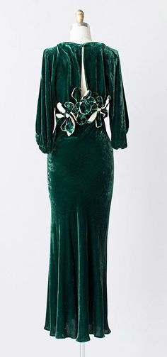 1930s green silk velvet gown dress