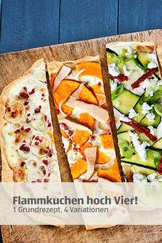 Flammkuchen selbstgemacht ... nichts leichter als das! Alles, was du brauchst, ist ein Grundrezept. Jetzt entdecken!   #flammkuchen Food Art, A Food, Food And Drink, New Recipes, Recipies, Vegetable Pizza, Sandwiches, Brunch, Appetizers