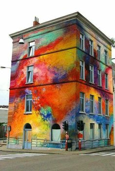 Beautiful abstract building mural.
