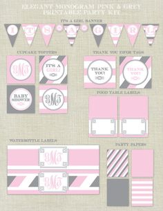 Pink and Grey Printable Baby Shower Party Kit / Decorations / It's A Girl Banner / Monogram by HappyHeartPrinting on Etsy, $20.00