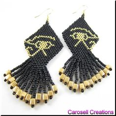 Eye of Horus Ancient Egyptian Seed Beaded Dangle Earrings TAGS - Jewelry, Earrings, Chandelier, carosell creations, gold, black, pierced, accessories, eye of horus, pagan, egyptian, glass, seed beads, handmade, off loom, goddess, wadjet, diety, ancient, afterlife, hieroglyph, symbo,l sun, ra, falcon, beaded, dangles, women