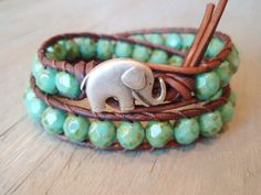 Bohemian Leather Wrap Bracelet This bracelet is made of distressed brown leather and green turquoise beads. Sold on Etsy.