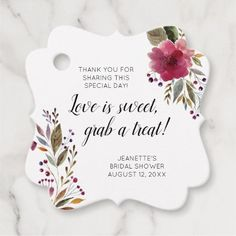 Burgundy Floral Love Is Sweet Treat Bridal Shower Favor Tags - shower gifts diy customize creative Bridal Shower Favors Diy, Bridal Shower Cakes, Bridal Shower Party, Bridal Shower Decorations, Bridal Shower Invitations, Bridal Showers, Bridal Shower Treats, Shower Centerpieces, Baby Showers