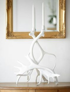 Painted Antler candle holder. This would be great at the cabin