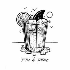 Cheers to Shark Week! 🍹 #jamiebrowneart #finandtonic #shark #sharkweek #gin…