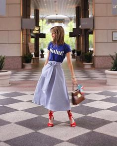 Graphic tee and ruffled gingham midi, we're taking a tip in spring chic a la @thestylebungalow's #rStheCon picnic luncheon style @hotelcrescentcourt - #LTKTakeoverTuesday, best of #rStheCon edition | Shop her look with a screenshot or a 'like' with the new LIKEtoKNOW.it app | http://liketk.it/2r6Jr #liketkit