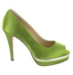 Zapato Peep Toe en Verde con plataforma. Para un look sofisticado. Ref.5458 //Peep toe platform heel in Green. For a more sophisticated look. Ref.5458