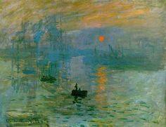 """Impression soleil levant - Claude Monet * Ce tableau est à la base du mouvement impressionniste. Monet avait la volonté de représenter """"l'instant, le moment"""" avec toutes les nuances de lumière qui l'entourent donnant un coup de pinceau rapide et par petites touches. Bleu = sérénité Orange= énergie optimisme et joie"""