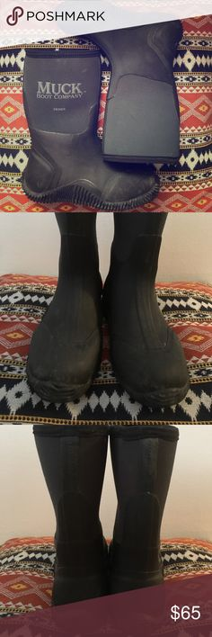 """Muck Boot Hoser 11"""" Classic Pre loved condition but these boots have a lot of life left as they are made very well. Neoprene is hunter green and rubber is black. These do not include sock liner. Marked as women's size 6/6.5, boys 5/4.5 - Per Muck Boot website, women should order 1 size down - see last 3 pics for more sizing info. Muck Boot Company Shoes Winter & Rain Boots"""