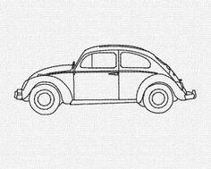 Volkswagon Beetle Redwork Machine Embroidery Pattern 4x4 5x7 6x10 by KatieLDesigns, $3.25