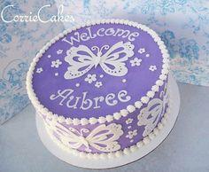 baby shower cake purple butterflies - Google Search