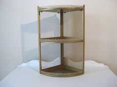 Vintage Metal Shelf - Gold - Corner Punched Metal Shelving - 1960's - Retro Metal Corner Shelf