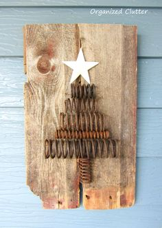 salvaged rusty industrial spring barn wood christmas tree, outdoor living, repurposing upcycling, seasonal holiday d cor Wood Christmas Tree, Noel Christmas, Primitive Christmas, Rustic Christmas, Winter Christmas, All Things Christmas, Vintage Christmas, Christmas Decorations, Christmas Ornaments