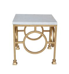 Ro Sham Beaux: Circle Side Table 18 x 18 x 18 Calcutta marble top with gold leaf base. $488. To order, call us at 843-641-7087.