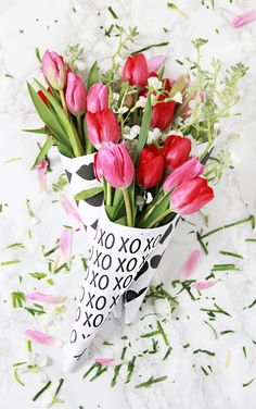 DIY Valentine Printable Flower Bouquets