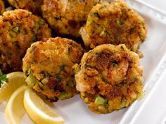 Photo provided by MARTHA WHITE Sweet Cornbread Shrimp Cakes With Mango Salsa is a flavorful dish that combines sweet and savory. I'm not a fan of sweet cornbread. I wonder if it would work with regular cornbread? Creole Recipes, Cajun Recipes, Seafood Recipes, Gourmet Recipes, Appetizer Recipes, Cooking Recipes, Cajun Food, Skillet Recipes, Oven Cooking