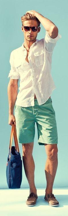 Summer, light green shorts, white shirt,