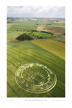 "Crop circle, Silbury Hill 2009.  ""Quetzalcoatl headdress, Read more at: http://www.heavy.com/comedy/2012/11/what-alien-crop-circles-mean-for-the-mayan-apocalypse/"