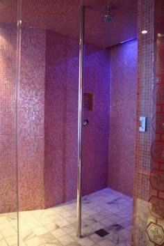 Pink Shower with Strip Pole - Barbie Suite at the Palms, Las Vegas wait a minute. it comes with a pole too? i have to add this Home Dance Studio, Shower Pole, Dungeon Room, Las Vegas, Stripper Poles, Dance Rooms, Pink Showers, Ghost Chairs, Lounge Design