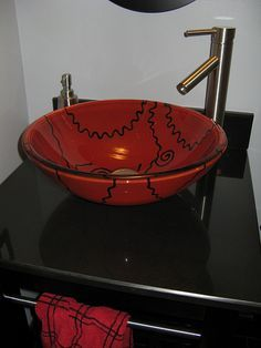 red and black art glass vessel sink. His And Hers Sinks, How To Wash Vegetables, Apron Sink, Home Furnishing Stores, Glass Vessel Sinks, Bathroom Sink Vanity, Crackle Glass, Fused Glass, Decorative Bowls