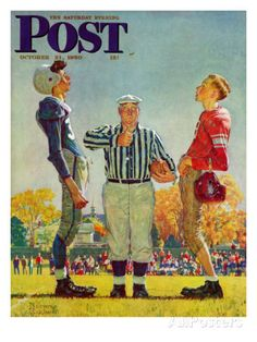 """""""Coin Toss"""" Saturday Evening Post Cover, October 21,1950 Giclee Print by Norman Rockwell at AllPosters.com"""