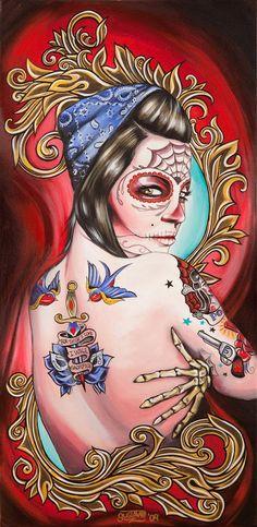 Sacrificio by Gustavo Rimada Tattoo Art Print Day of the Dead Sugar Skull