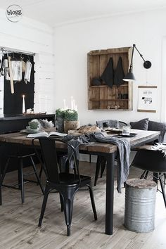 Rustic black and brown dining room in a simple style