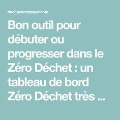 Bon outil pour débuter ou progresser dans le Zéro Déchet : un tableau de bord Zéro Déchet très détaillé avec les différentes étapes à appliquer.