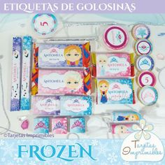 Etiquetas para golosinas Frozen para Candy bar Candy Bar Frozen, Kit, Ideas Para, Arts And Crafts, Printables, Party, Anna, Places, Blog