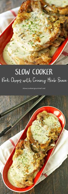 Pork Chops with Creamy Herb Sauce for the Slow Cooker