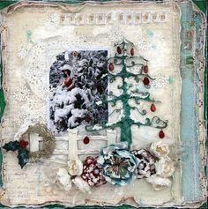Christmas winter scrapbook layout