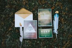 Bohemian wedding invitation suite | Hello Miss Lovely Photography | http://burnettsboards.com/2014/01/free-spirited-bohemian-diy-wedding/