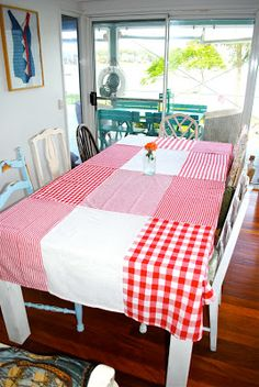 Beach Vintage: Project Day: My Dish Cloth Table Cloth!