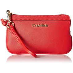 Calvin Klein Saffiano Wristlet (2.590 RUB) ❤ liked on Polyvore featuring bags, handbags, clutches, calvin klein purse, red clutches, red handbags, calvin klein and wristlet purse