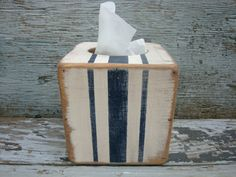 FREE SHIP Grain Sack French Stripe Rustic Distressed  Wood Tissue Box Holder Cover Square beach house  Navy on Etsy