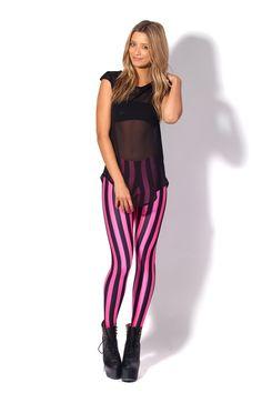 Beetlejuice Neon Pink Leggings by Black Milk Clothing
