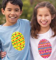 Decorate your own t-shirt for Easter - made with craft foam and thick cardboard for egg pattern stamp, glue, fabric paint in various colors, and white t-shirt.