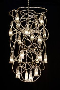 Custom contemporary Chandelier by Brand van Egmond. See the Sultans of Swing Collection and all our modern lighting collections at our website WWW. Sultans Of Swing, Handmade Chandelier, Contemporary Chandelier, Light Installation, Bespoke Design, Beautiful Space, Light Decorations, Modern Lighting, Pendant Lighting
