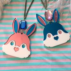 Bunny Head Acrylic Necklace in Blue or Pink on Etsy, $15.29 CAD