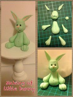 Making the little bunny Fondant Figures, Fondant Toppers, Fondant Cakes, Foundant, Fondant Animals, Fondant Decorations, Cute Clay, Modeling Chocolate, Easter Cupcakes