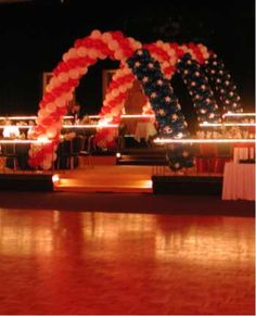 American Flag Balloon Arch. Would take a great deal of time but would be worth it. Nice