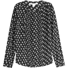 Diane von Furstenberg Printed Silk Blouse (240 CAD) ❤ liked on Polyvore featuring tops, blouses, black, silk top, silk blouse, diane von furstenberg, flower top and flower blouse