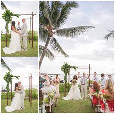 Simple arch with palm leaves. Hawaii Weddings by Tori Rogers, www.hawaiianweddings.net, Sugarman Estate, Dellables, A Modern Tropical Affair! Nikki and Mike's Maui Wedding by Maui Wedding Photographer Karma Hill  Maui Photographer - Karma Hill