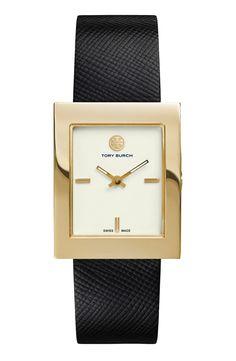 'Buddy Classic' Rectangular Saffiano Leather Strap Watch, 26mm x 32mm
