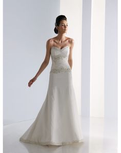 High-Quality Enticing Satin Sweetheart Chapel Train A-line Wedding Dress Sale in Our Online Shop Canada