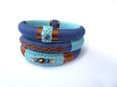 Boho gypsy tribal ethnic fiber bangles by GiadaCortellini on Etsy