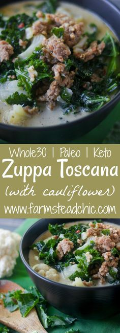 Creamy Zuppa Toscana with Cauliflower, you can have your soup, stay low carb + eat it too! Dairy free, gluten free, Whole30, Paleo, low-carb.